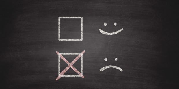 Smiley or Sad Checkboxes on Blackboard - Chalkboard